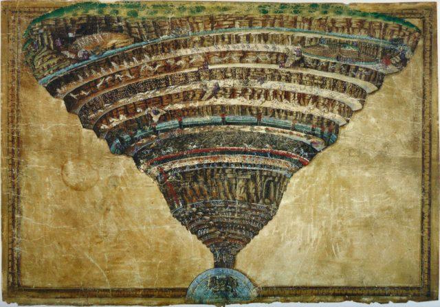 Attraverso uno sguardo alla Commedia di Dante, si propone la lettura del Buco, che metta in evidenza l'essenziali discromie con l'Inferno.